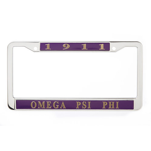 Omega Psi Phi Metal License Plate Frame
