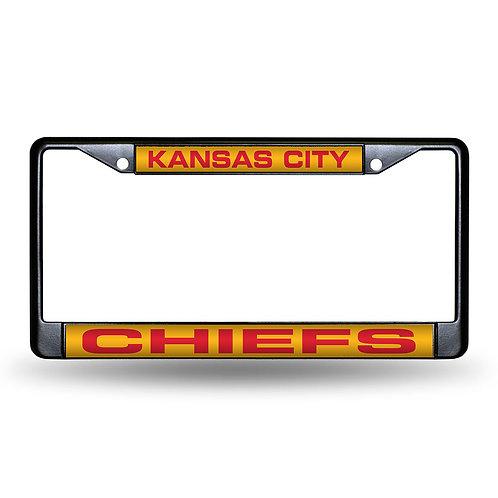 KC Chiefs Laser Cut Black License Plate Frame