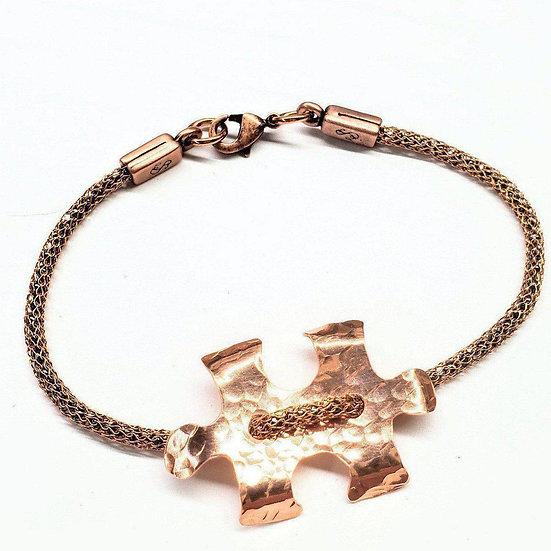 Copper Puzzle Piece Button Viking Knit Autism Awareness Bracelet