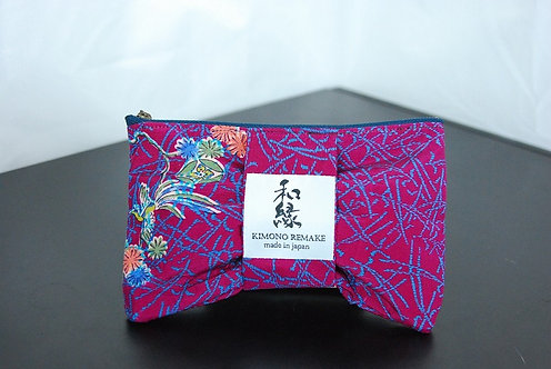 Pouch remade with kimono material