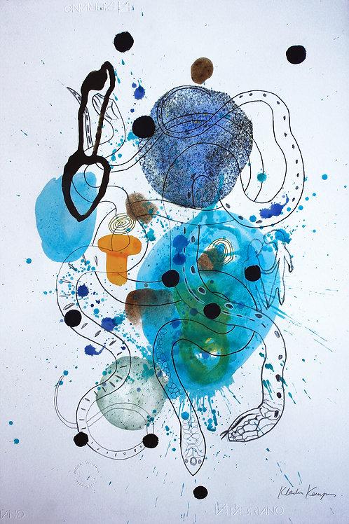 KLAUDIA KEMPER, Nuevos Trópicos pintura, impresión y lápiz sobre papel 55X77 cm.