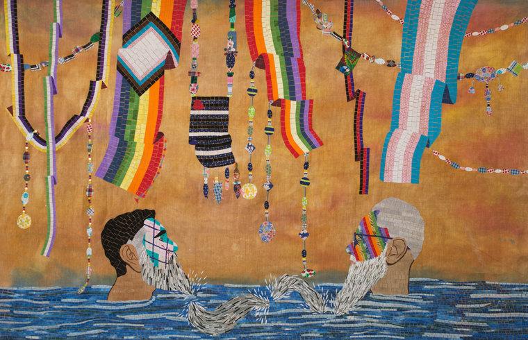 Chiachio & Giannone, CUIR I, 2020, Mosaico textil sobre tela, 110 x 180 cm © 2021