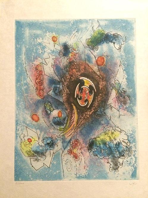 ROBERTO MATTA, Hom'mere III-L'Ergonaute,1977, aguafuerte y aguatinta, 49x38 cm.