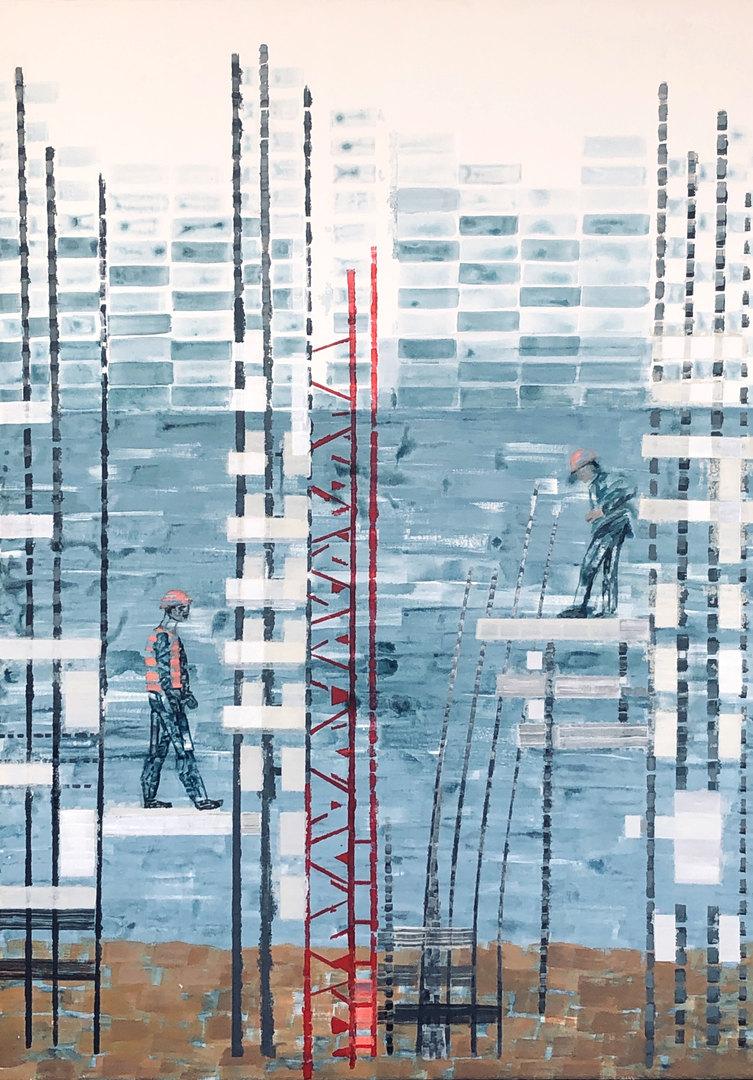 Cecilia Zaldivar  La construcción continua II 90cm x 65cm  Acrílicos y marcadores sobre tela, técnica mixta Año 2020 ©