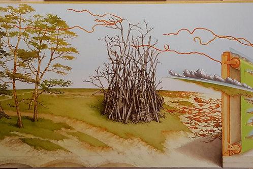 JORGE ZAMBRANO, Horizonte en fuga, Óleo sobre tela, 50x150 cm.