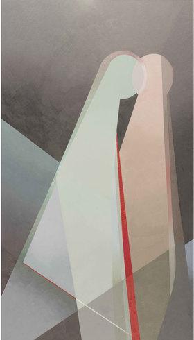 Carmen Valbuena, Arrepentimiento de cuerpos vertices (a Antonio), oleo sobre tela, 140 x 80 cm, 2017 © 2020