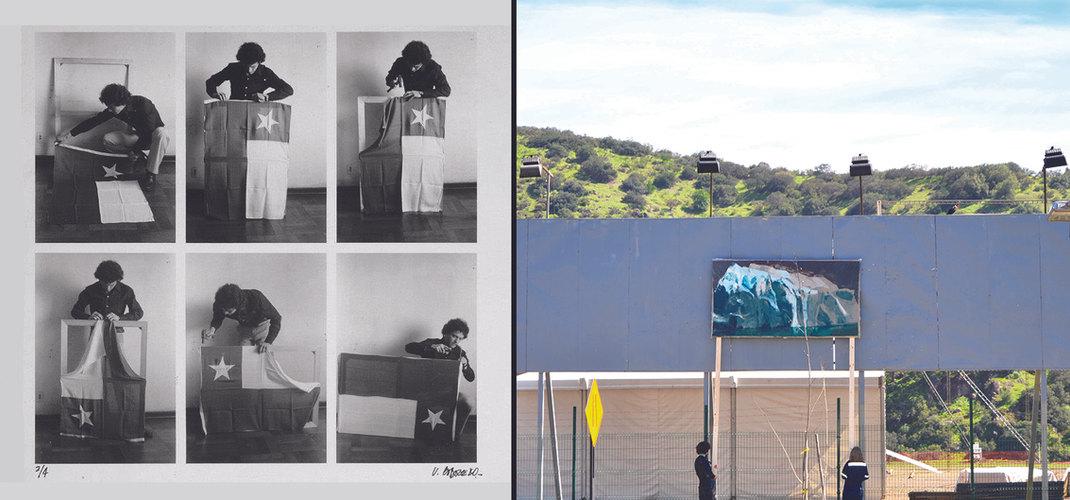 """""""Bandera"""" (1988) de Víctor Hugo Codocedo y """"Tres maneras de fracasar frente a un paisaje"""" (2016) de Pilar Elgueta"""