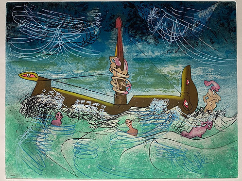 ROBERTO MATTA, Hom'mere II (L'Eautre),1975,  aguafuerte y aguatinta, 50x65,5 cm.