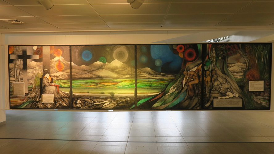 Fernando Daza, Mural Gabriela Mistral, imagende la obra en espacio cívico fotografía © 2020