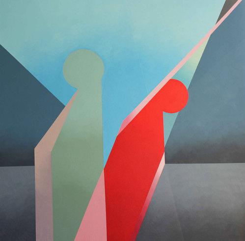 Carmen Valbuena, Amantes trigonos cavilando, oleo sobre tela, 100 x 100 cm, 2017 © 2020