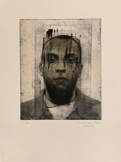 DIEGO ROMO, s.t., serie ANÓNIMO, 2016-2017 aguatinta y aguafuerte, 56,5x42 cm.