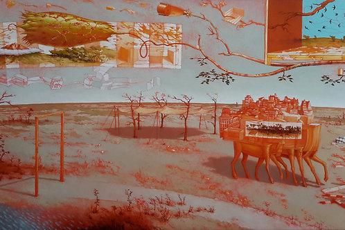 JORGE ZAMBRANO, Troyanas,  Óleo sobre tela, 97x195 cm.
