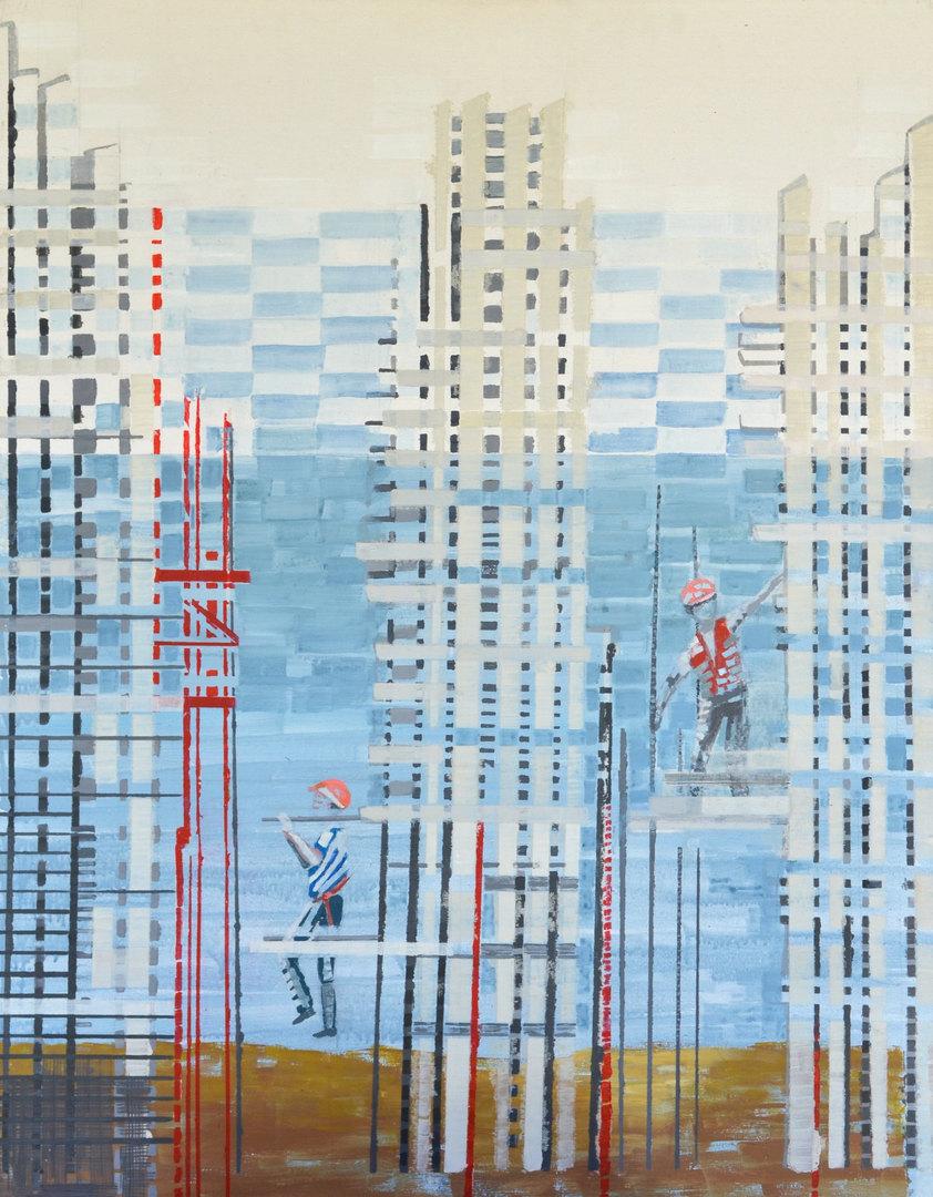 Cecilia Zaldivar La construcción continua  90cm x 70cm  Acrílicos y marcadores sobre tela, técnica mixta Año 2020 ©