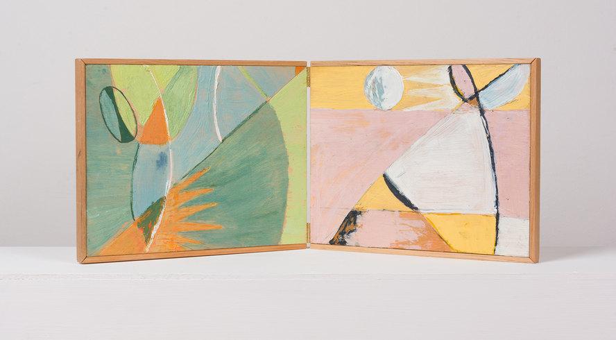 Sin título (2019) de Catalina Quezada. Díptico. Encáustica sobre madera. 50 x 21 cm © 2021