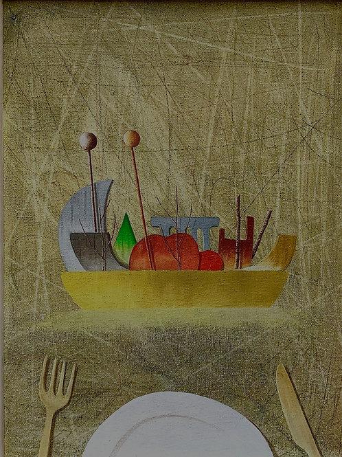 FRANCISCO DE LA PUENTEM, S/t, (frutero)  técnica: óleo sobre tela, 45x35,5 cm.