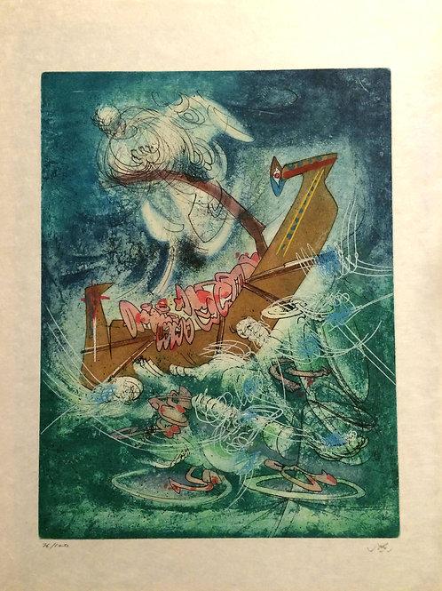 ROBERTO MATTA, Hom'mere (L'Eautre), 1975,  aguafuerte y aguatinta, 65,5X51 cm.