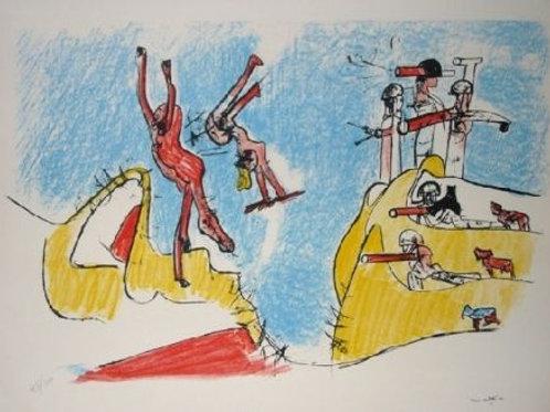 ROBERTO MATTA, Had A Great Fall, 1965, Litografía, 50x65 cm.