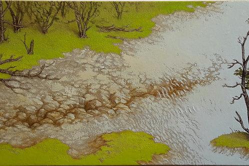 JORGE ZAMBRANO, S/t, Óleo sobre tela, 20x50 cm.