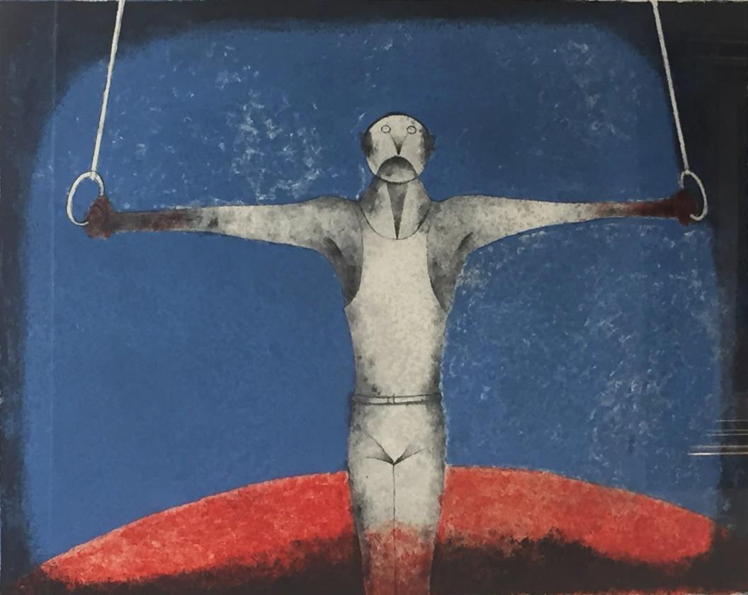 Rufino Tamayo, México «El gimnasta», 1986 Litografía, 66 x 87 cm Museo Ralli Santiago, Chile © 2021