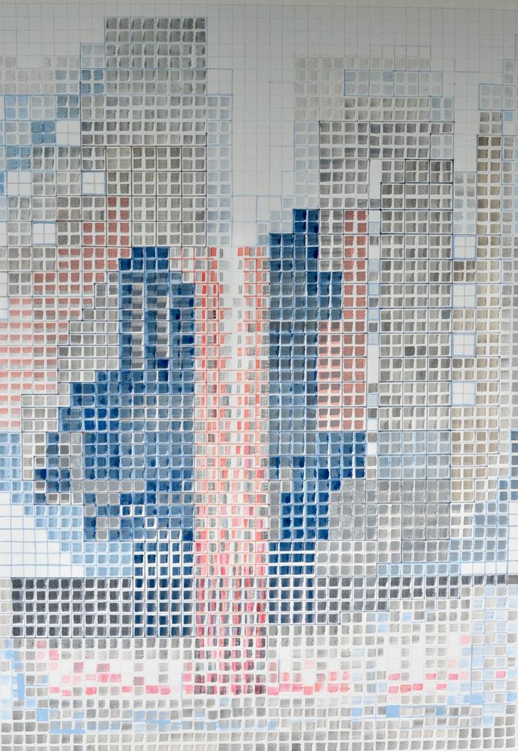 Cecilia Zaldivar Templo del agua  96cm x 70cm  Acrílicos y marcadores sobre papel   Año 2020 ©