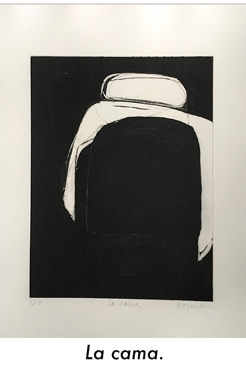 ROSER BRU, La Cama, 1965, Aguafuerte, 54x41 cm.