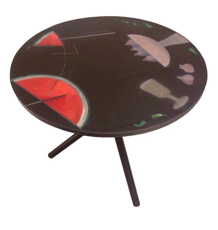 Roser Bru, España - Chile «La mesa puesta», 1991 Objeto intervenido, 70 cm diámetro Museo Ralli Santiago, Chile © 2021