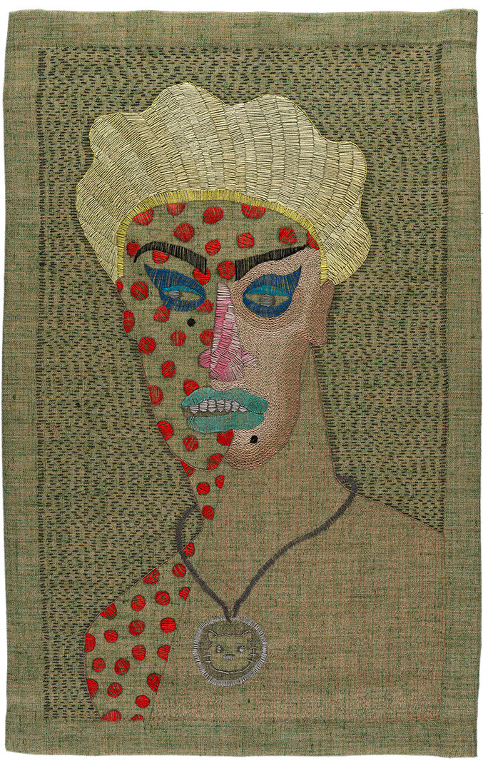 Paloma Castillo, Madame, 2020, Hand embroidery with cotton threads on linen, 64 x 40 cm © 2021