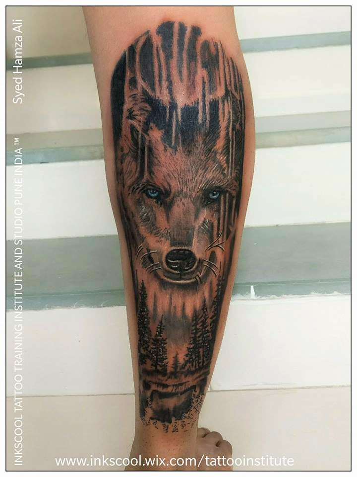 wolf tattoo by Inkscool tattoos pune