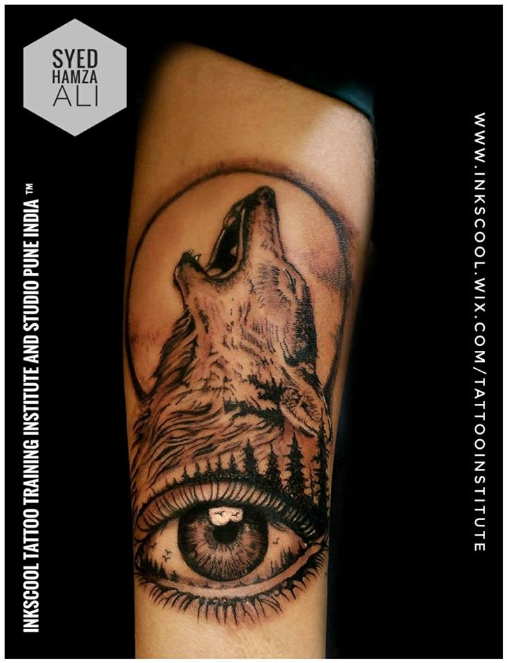 wolf tattoo by Inkscool tattoo pune