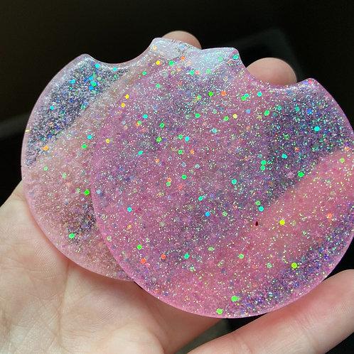Glitter Resin Car Coasters Set