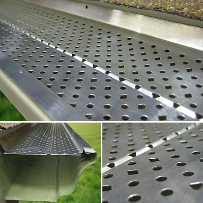 Aluminum leaf guard for K-style gutters
