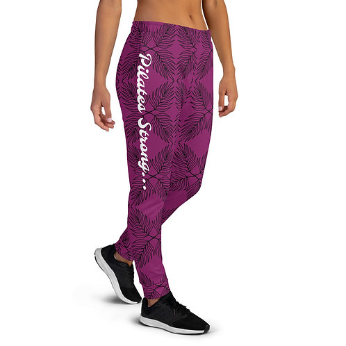Women's Joggers - Black on Purple - Pilates Strong