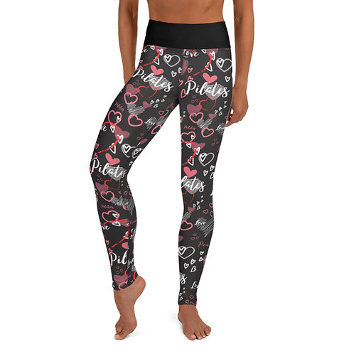 Peace, Love and Pilates Hearts Red/Black Leggings