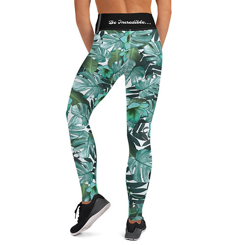 Green Flower/Leaf - Be Incredible Pilates/Yoga Leggings
