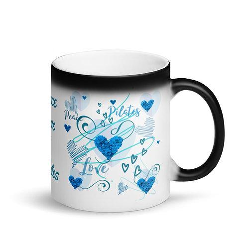 Peace, Love & Pilates - Blue Design - Matte Black Magic Mug