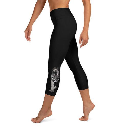 Pilates/Yoga Capri Leggings - Tiger Purple Eyes - Be Incredible