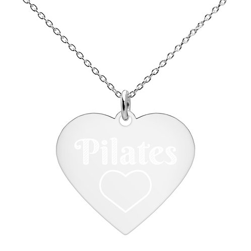 Engraved Heart Necklace - Pilates Love Heart