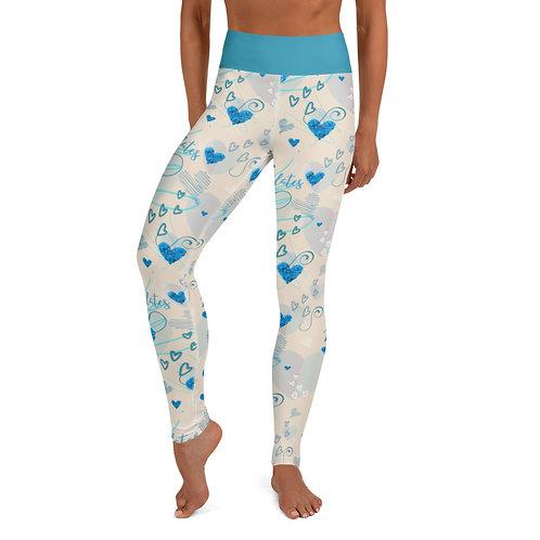 Peace, Love and Pilates Beige/Blue Leggings