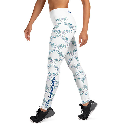 Winged Leaf Design - White - Be Incredible Leggings