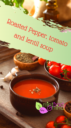 Red pepper, tomato and lentil soup