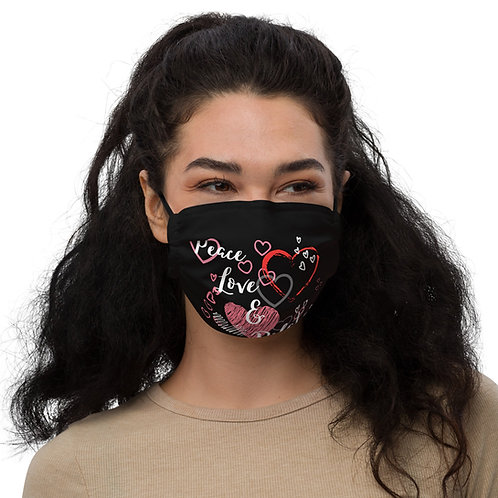 Premium face mask - Peace, Love & Pilates - Red/Black