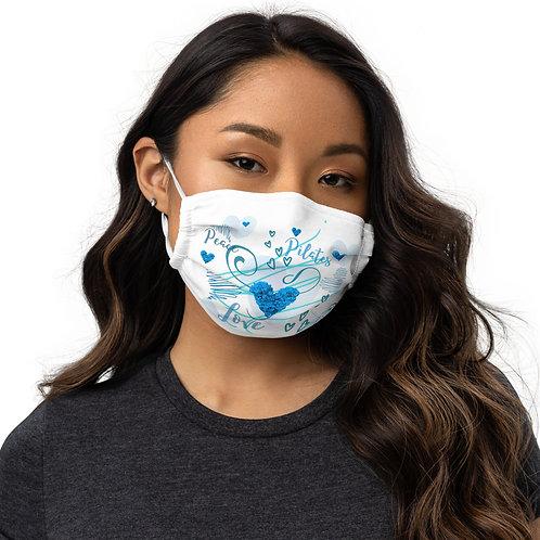 Premium face mask - Peace, Love & Pilates - White/Blue