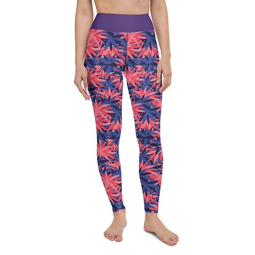 Busy Leaf Design - Purple/Pink Leggings
