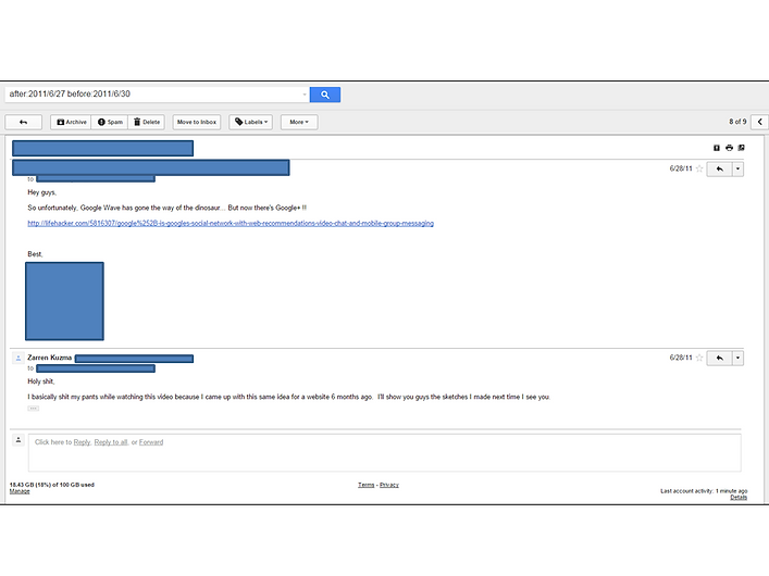The email in which I discovered the existence of Google+