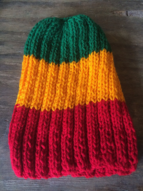 Rasta colour tam 2 - hand knit by Rasta Queen Marva-G