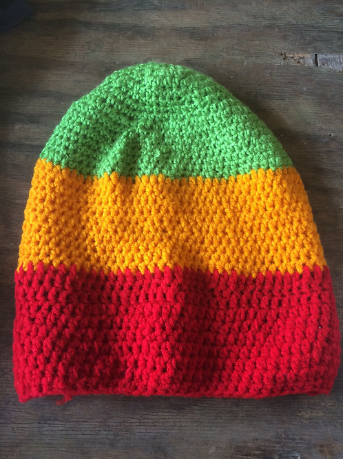 Lime Green, Orange & Red colour tam - hand knit by Rasta Queen Marva-G