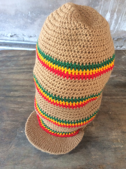 Beige + Rasta colour long tam with peak - hand knit by Rasta King