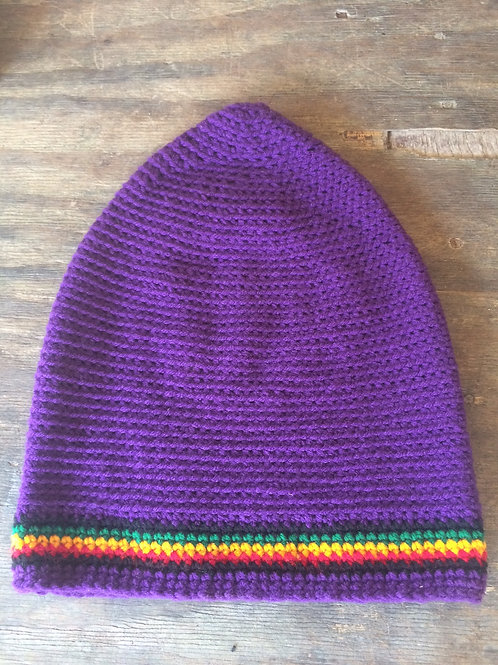 Purple with Rasta colour tam - hand knit by Rasta King