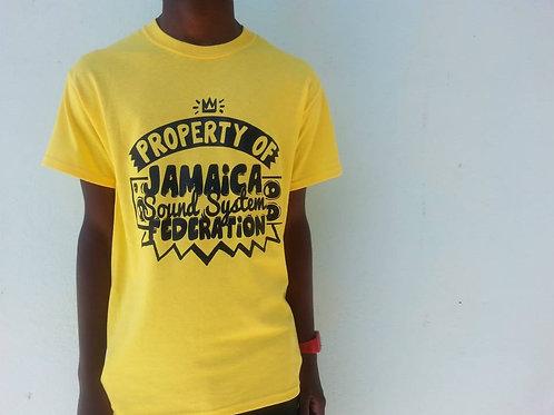Property of Jamaica Sound System Federation Tshirts - Yellow -M