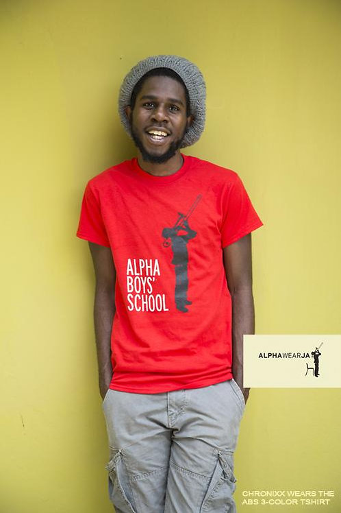 Alpha Boys School Tee - ALPHAWEAR JA TShirts - Red x Black x White (size L)